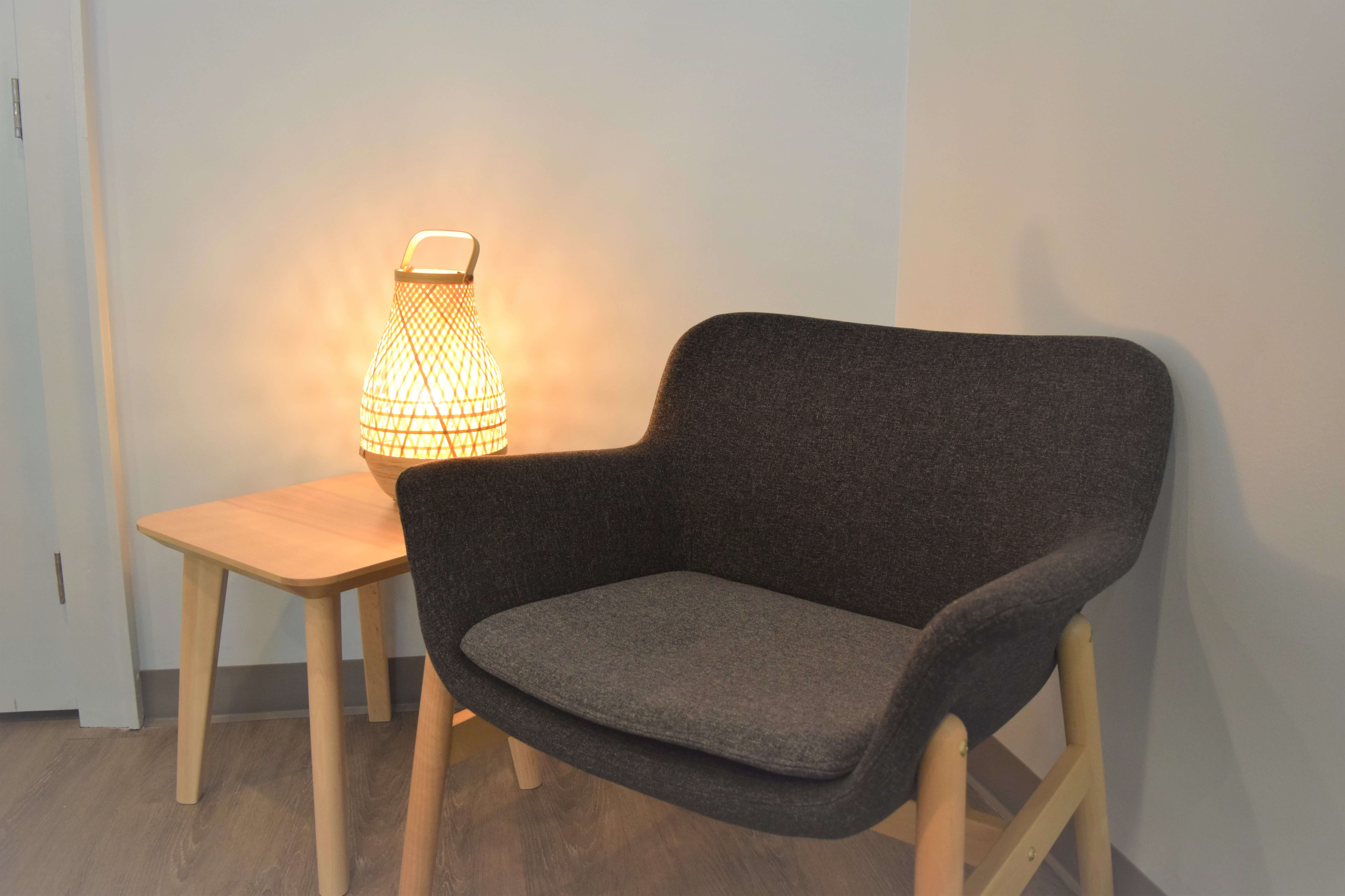 Chair and table in den