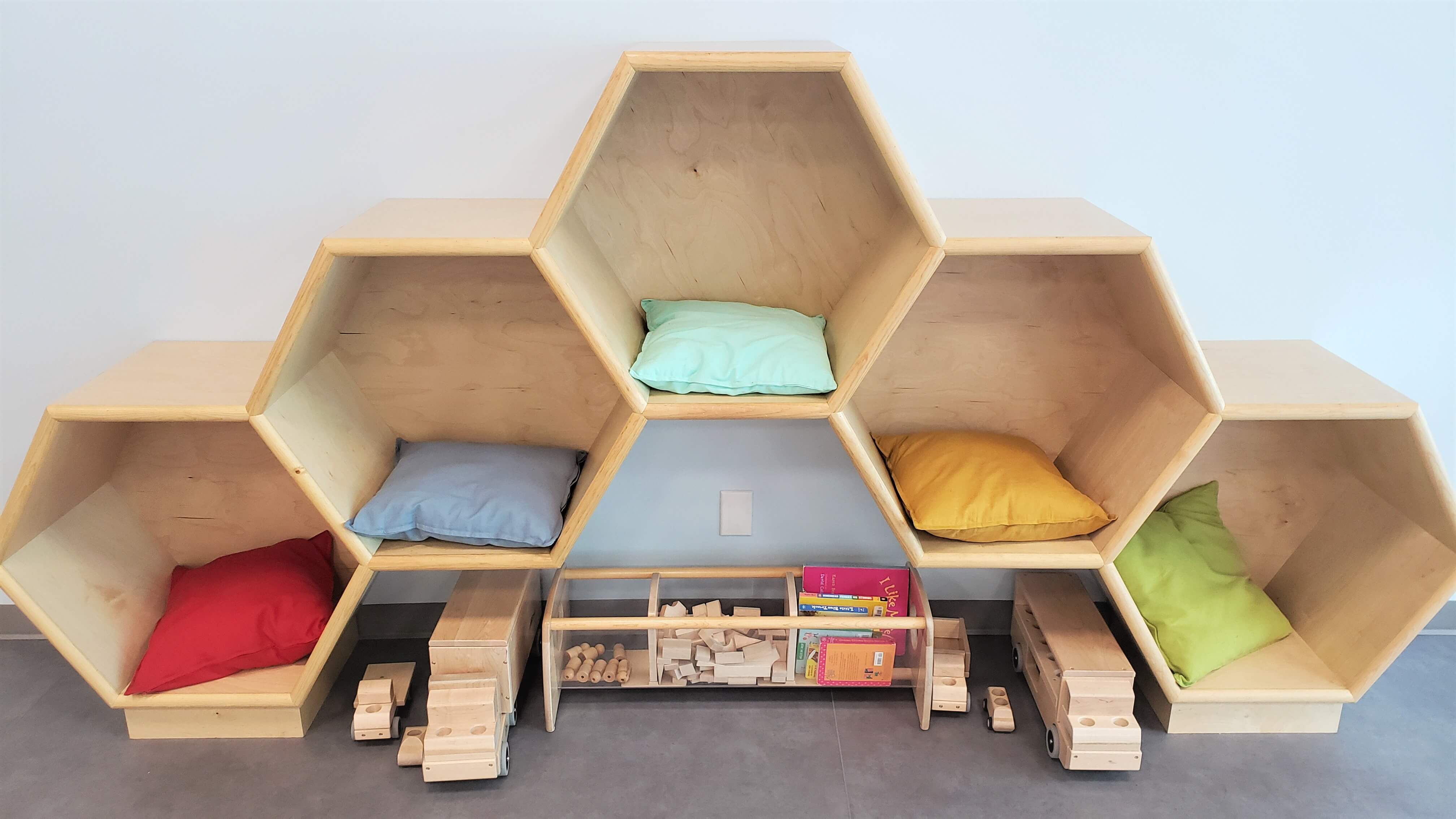Honeycombed built-in reading nook